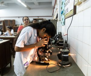 Microscopic observation in Biology laboratory